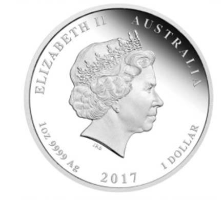 Austrália 1 Dollar Ano do Galo Colorido 2017
