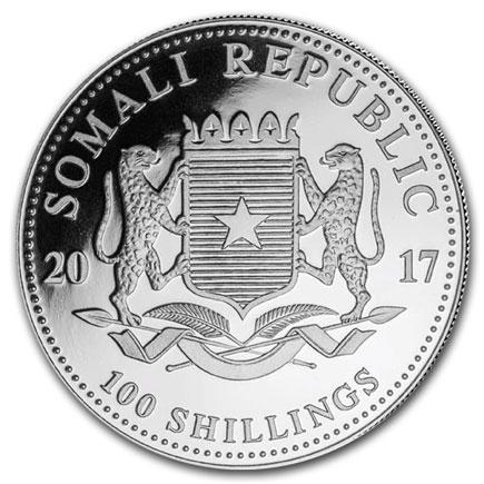 Somália 100 Shillings Elefante 2017 - Onça em Prata