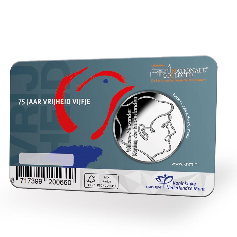Holanda 2020 - Moeda em Coincard 5€ alusiva aos 75º Anivº da Paz