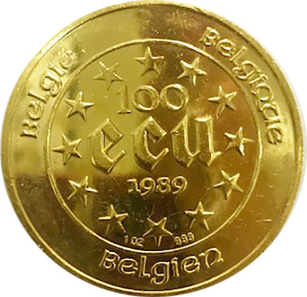 Belgica- 100 ecu 1989 'Maria Theresa' - 1 oz ouro