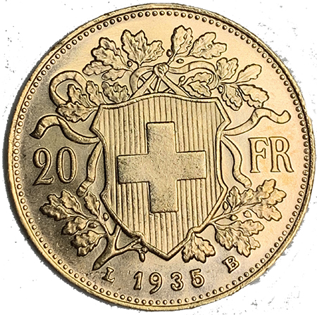Suiça 20 Francos  1835 LB Ouro