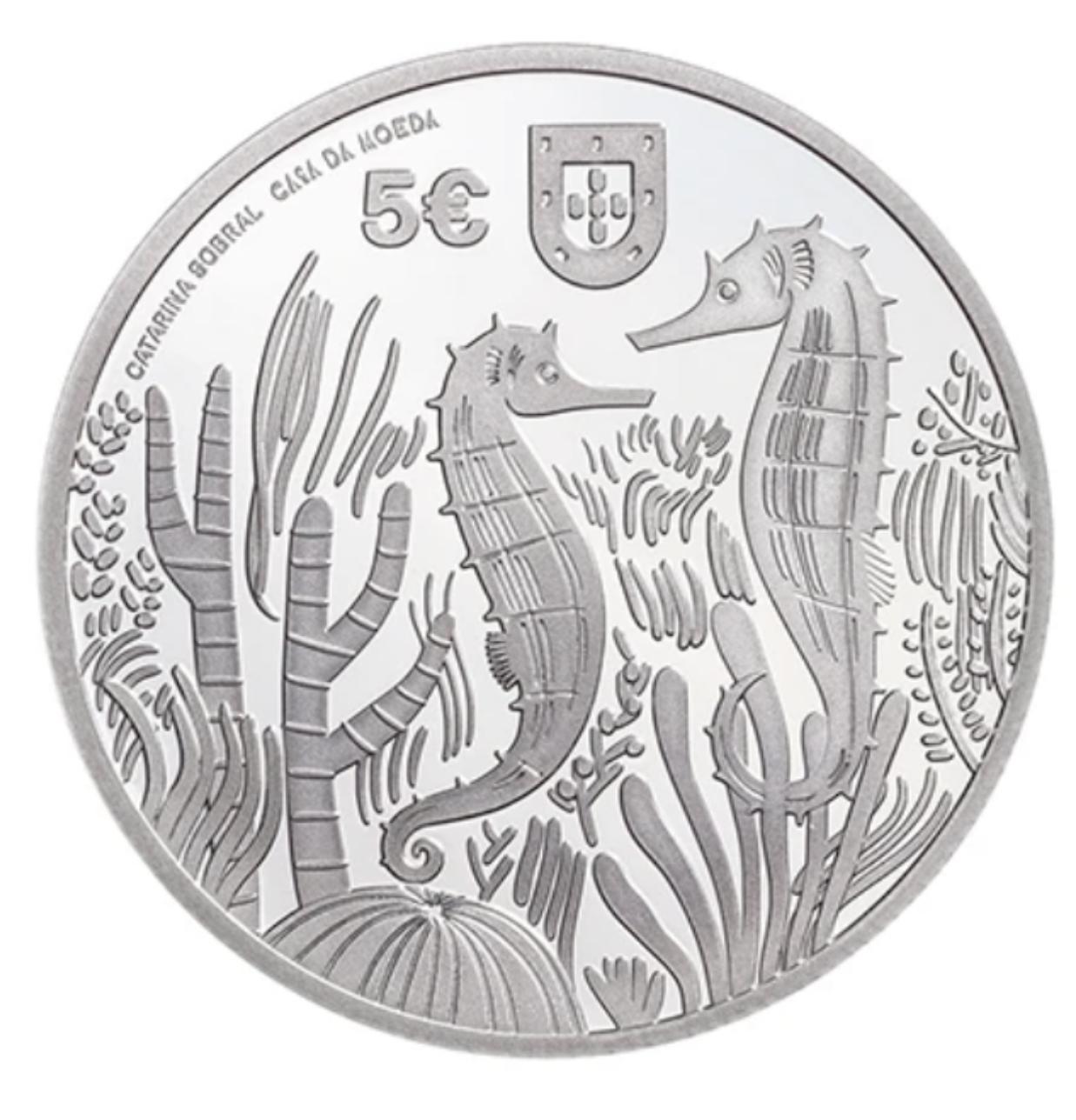 Portugal 5€ Cavalo Marinho Prata Proof