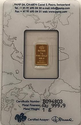 Barra de 1 grama ouro Pamp (Suiça)