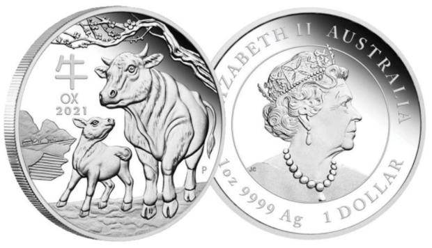 Austrália 1 Dollar 2021 Ano do Boi - 1 oz Prata