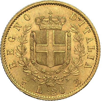 Italia 20 Liras 1863
