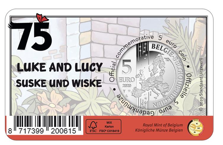 Bélgica 5€  75 Anos de Luke e Lucy 2020