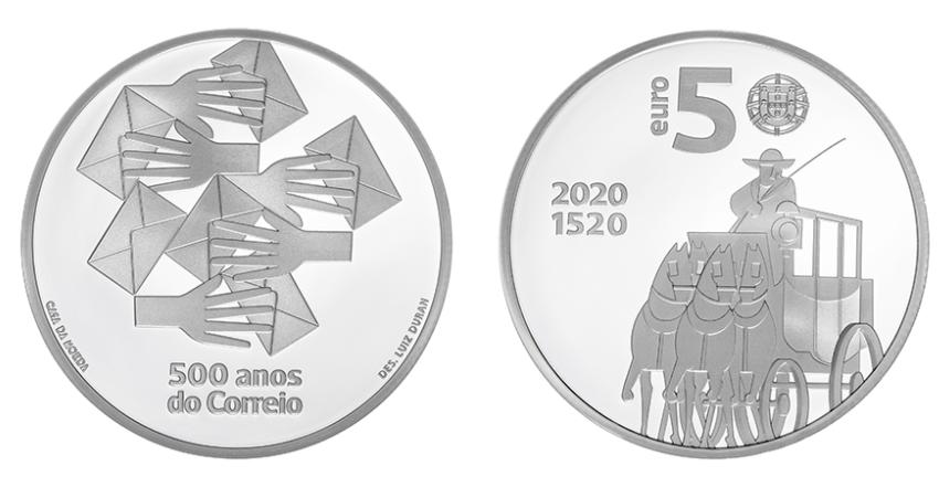 Portugal 5€ 500 Anos do Correio em Portugal 2020 Prata Proof