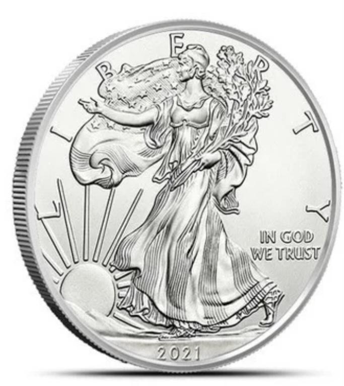 USA Dólar 2021 1Oz Prata, tubo 20 moedas