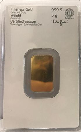 Barra de 5 gr. em ouro fino
