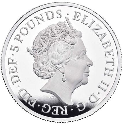 Inglaterra 5 Libras Una e o Leão 2019 Prata Proof
