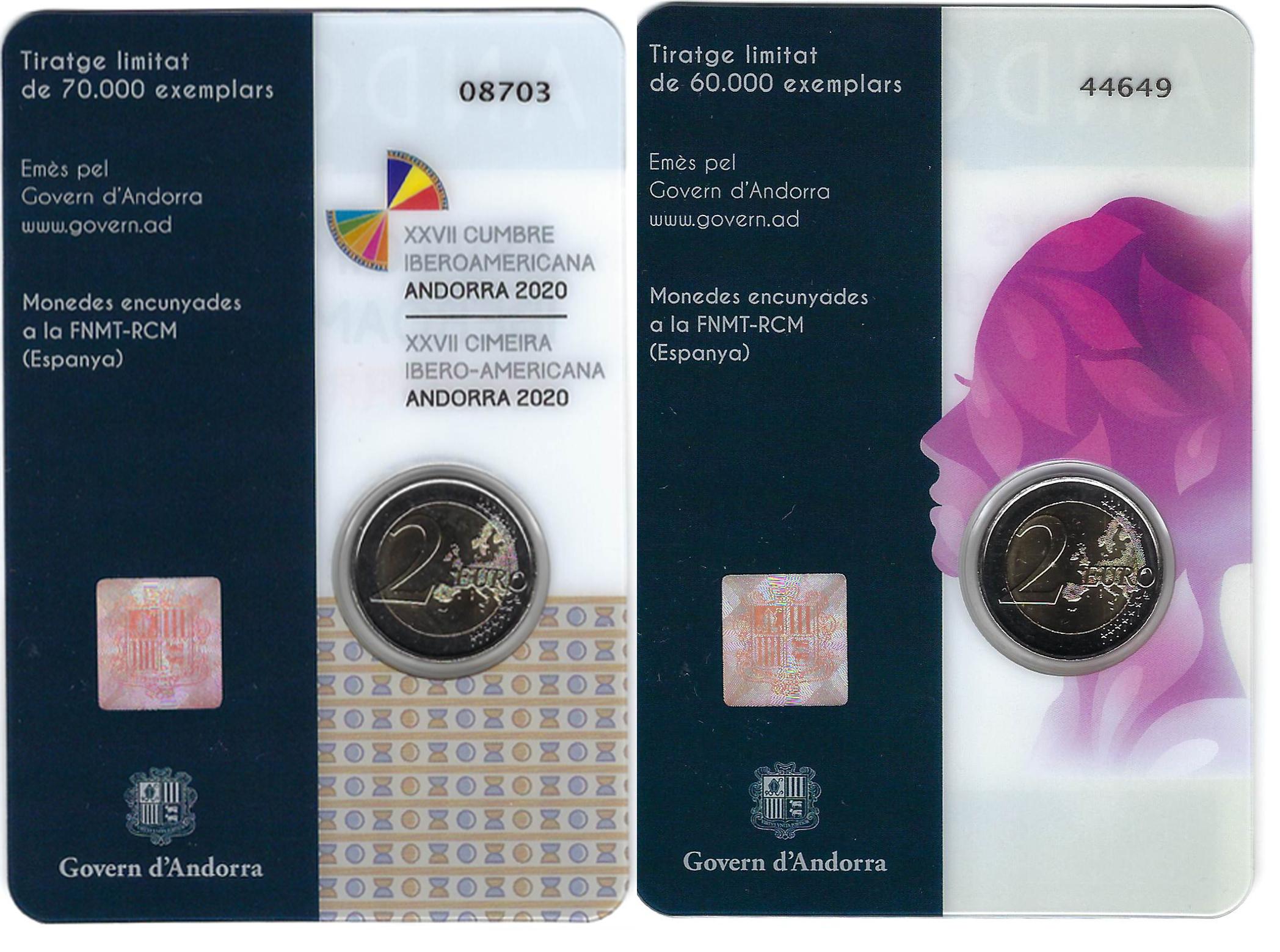 Andorra 2€ 2020 2 50 anos Sufragio universal das mulheres e XXVII Cimeira Iberoamericana