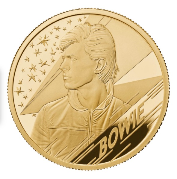 UK David Bowie 2020 1/4 Onça (25 Pounds) Ouro Proof
