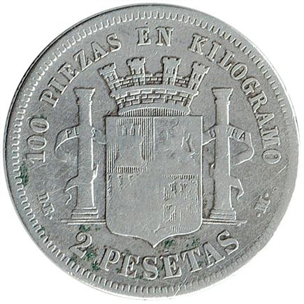 Espanha 2 Pesetas de 1870