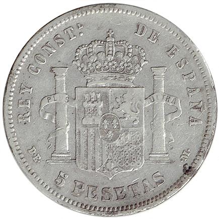 Espanha 5 Pesetas de 1877