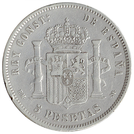 Espanha 5 Pesetas de 1878