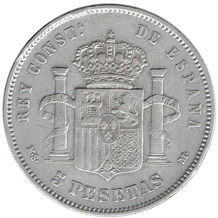 Espanha 5 Pesetas de 1884