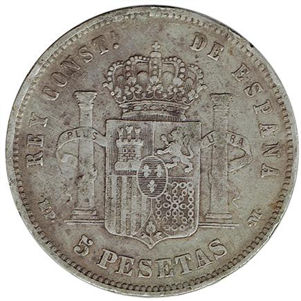 Espanha 5 Pesetas de 1889