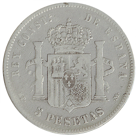 Espanha 5 Pesetas de 1890