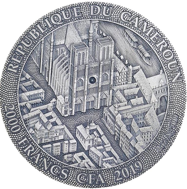 """2000 Francos 2019 Camarões """"NOTRE DAME DE PARIS"""" 2 Oz Prata Coin 2019"""