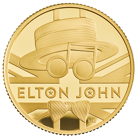 UK Elton John 2020 1/4 Onça (25 Pounds) Ouro Proof  (Esgotado na Royal Mitnt)