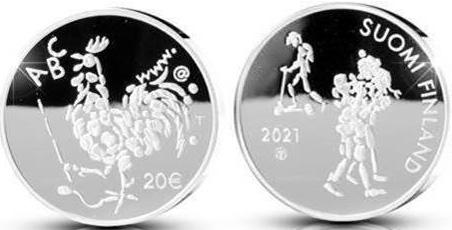 Finlândia 20€ 100 Anos da educação Obrigatória 2021 Prata proof
