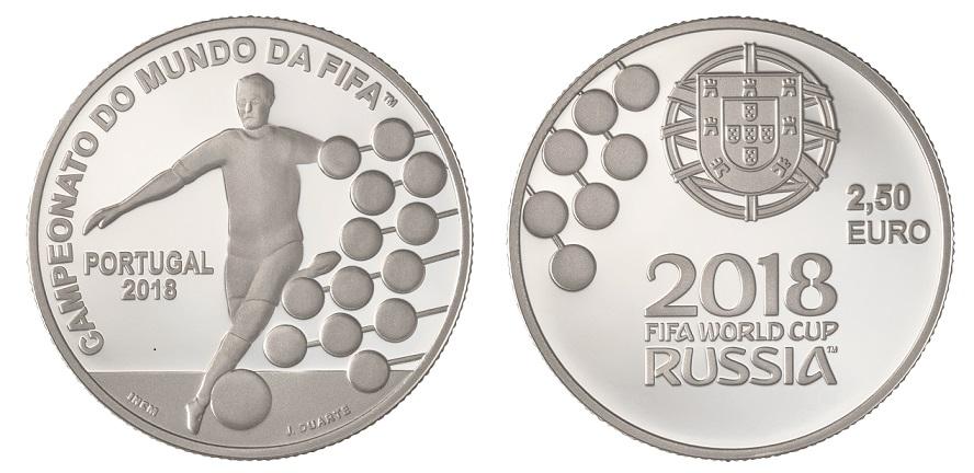 Portugal 2,50€ Campeonato do Mundo de Futebol Rússia 2018 - Prata Proof
