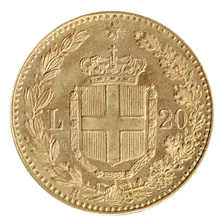 Itália 20 Liras de 1882