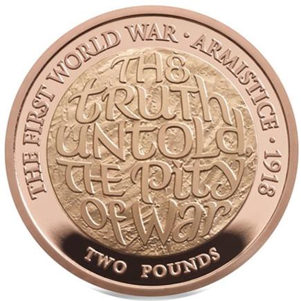 Inglaterra 2 Libras 100 Anos do Armistício Ouro 2018