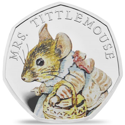 Inglaterra 50 Pence Beatrix Potter - Mrs. Tittlemouse 2018 Proof