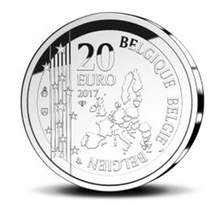 Bélgica 20€ 200 Anos do Nascimento de Joseph Poelaert 2017