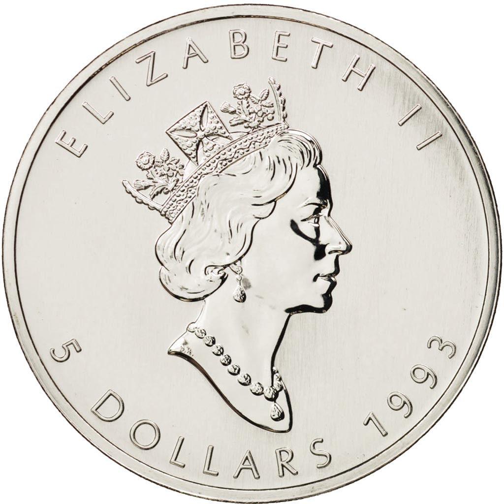 Canadá 5 Dollars Maple Leaf 1993