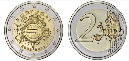 Portugal 2€ 10 Anos do Euro Bnc 2012