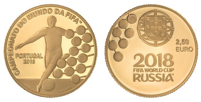 Portugal 2,50€ Campeonato do Mundo de Futebol Rússia 2018 - Ouro
