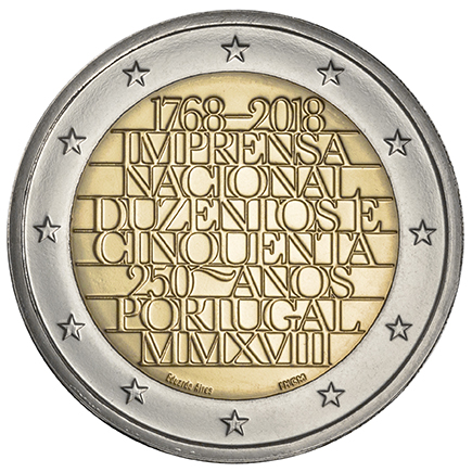 Portugal 2€ 250 Anos INCM 2018 Proof