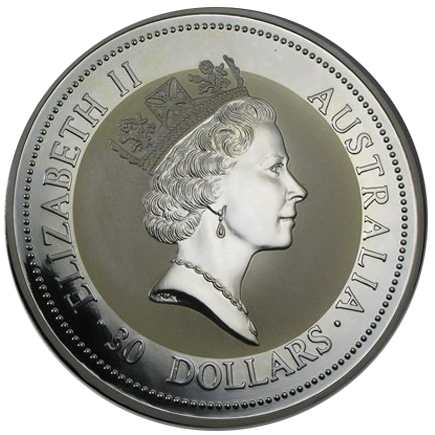 Austrália 30 Dollars Kookaburra 1994 - kilo em Prata