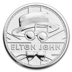 UK Elton John 2020 1 Onça (2 Pounds) Prata BU (esgotado na Royal Mitnt)