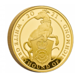 UK O Galgo Branco de Richmond 2021 1/4 Onça (25 Pounds) Ouro Proof (Esgotado na Royal Mitnt)