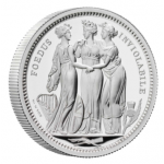 UK 5 Pounds (2 onças) Three Graces 2020 Prata Proof
