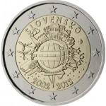 Eslováquia 2€ 10 Anos Euro 2012