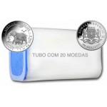 Tubo 20 moedas Somália 100 Shilling Elefante 2022 1oz. Prata