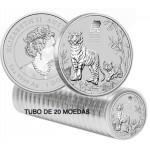 Tubo de 20 moedas Austrália 1 Dollar 2022 Ano do Tigre - 1 oz Prata