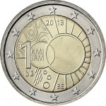 Bélgica 2€ 100 anos do  Instituto Meteorológico 2013