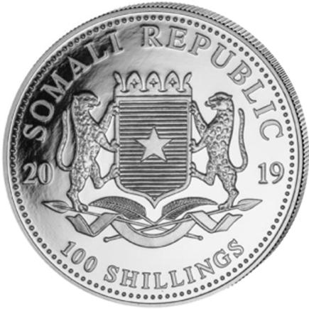 Somália 100 Shillings Elefante 2019 - 1oz