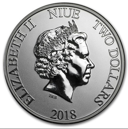 Nuie 2 Dollars Tartaruga 2018 - 1oz